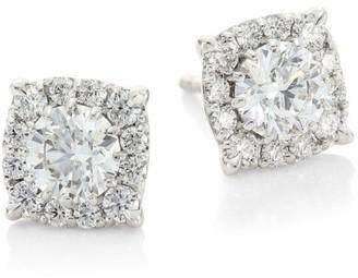 Hearts On Fire HOF Classics 18K White Gold & Round Diamond Custom Halo Stud Earrings