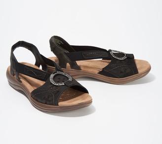 Earth Origins Leather Sandals with Metal Detailing - Stella Sabrina
