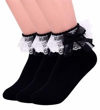 SEMOHOLLI Women Ankle Socks Cotton Lace Ruffle Princess Style Dress Socks Women Lace Socks with a Bow on Top - black - Medium