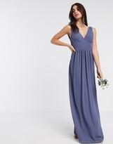 TFNC Bridesmaid top wrap chiffon dress in navy