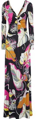 Emilio Pucci Crystal-embellished Ruched Printed Jersey Maxi Dress