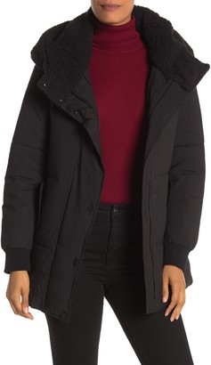 Andrew Marc Long Sleeve Faux Shearling Hooded Puffer Coat