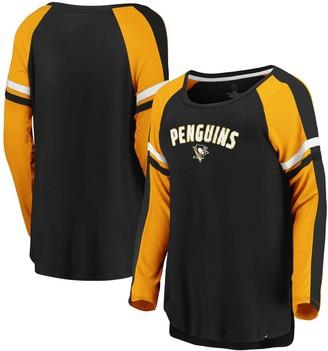 Women's Fanatics Branded Black/Gold Pittsburgh Penguins Flashy Raglan Long Sleeve T-Shirt