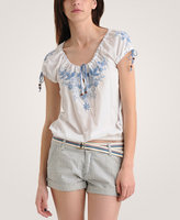 Heritage 1981 Floral Stitch Peasant Top