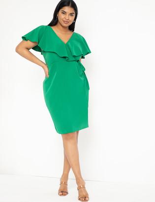 ELOQUII Surplice Bodice Dress with Cape Sleeve