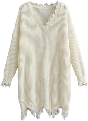 Goodnight Macaroon 'Gina' V-neck Distressed White Sweater Dress