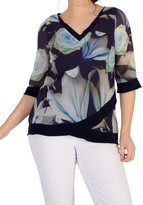 Chesca Rose And Lily Print Chiffon Top, Multi