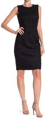 Calvin Klein Seamed Faux Suede Sheath Dress