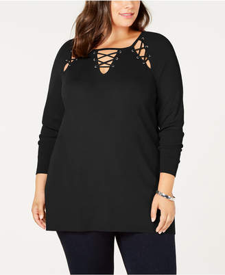Belldini Black Label Plus Size Laced Grommet Sweater