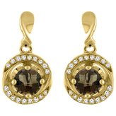 Sabrina Silver 14K Yellow Gold Natural Smoky Topaz Earrings with Diamond Accents Round 4 mm