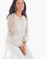 Chico's Lace-Embroidered Peasant Top