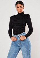 Missguided Black High Neck Ruched Long Sleeve Bodysuit