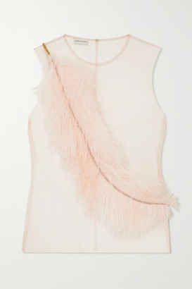 Dries Van Noten Embellished Feather-trimmed Tulle Top - Pink