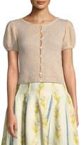 Brock Collection Kensie Crewneck Button-Down Cashmere-Silk Cardigan