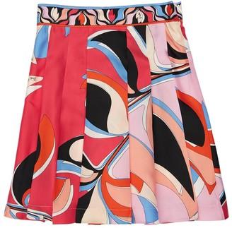 Emilio Pucci Eliconia Printed Silk Satin Skirt