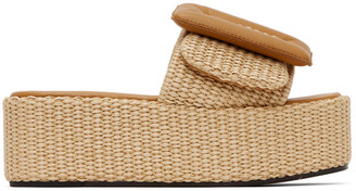 Boyy Beige Raffia Puffy Platform Sandals