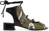 3.1 Phillip Lim Drum leather-paneled printed satin sandals
