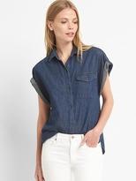 Roll-sleeve denim shirt