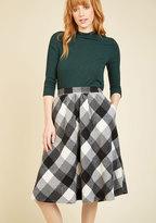 Sunday Sojourn Midi Skirt in Black Plaid in 2X