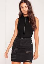 Missguided Zip Front Sleeveless High Neck Bodysuit Black