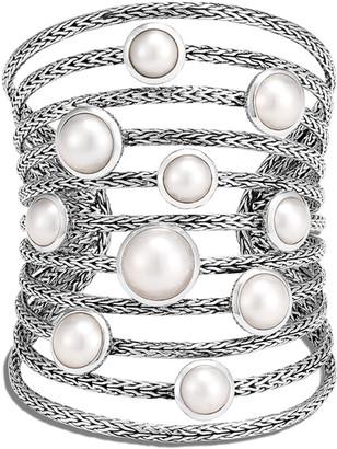 John Hardy Classic Chain Multi-Row Pearl Cuff Bracelet, Size M