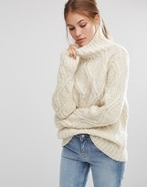 People Tree Cable Hand Knit Unbleached Wool High Neck Oversized Sweater