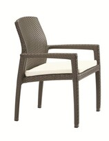 evo Stacking Patio Dining Chair with Cushion Tropitone Frame Color: Kaffee Basket Weave, Cushion Color: Sparkling Water