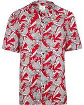 River Island Mens Red pineapple print short sleeve revere shirt