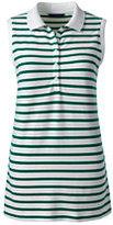 Classic Women's Petite Pique Polo Shirt-Lush Tropic Green Stripe