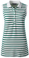 Lands' End Women's Tall Pique Polo Shirt-Lush Tropic Green Stripe