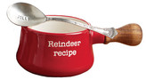 Mud Pie Red Reindeer Recipe Holiday Dipping Pot & Spoon 2-Piece Set