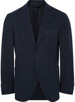 Hackett - Blue Slim-fit Herringbone Cotton-twill Blazer
