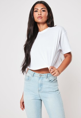 Missguided White Crew Neck Cropped T Shirt