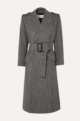 Saint Laurent Belted Herringbone Wool Coat - Gray