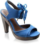KG canvas lace-up wooden heel sandal