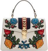 Gucci White Medium Floral Sylvie Bag