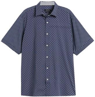 Bugatchi Geometric Print Trim Fit Short Sleeve Shirt