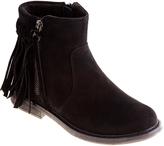 KensieGirl Black Suede Fringe Ankle Boot