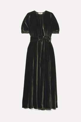 ARoss Girl x Soler Brooke Belted Velvet Maxi Dress - Forest green