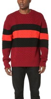 McQ by Alexander McQueen Alexander McQueen Needle Punch Cable Crew Sweater