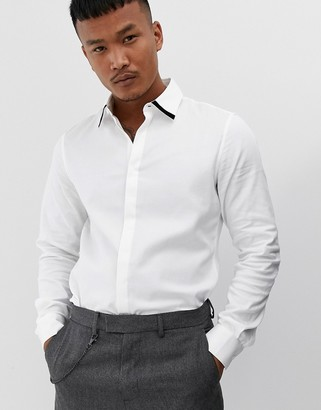 Asos Design DESIGN slim fit textured twill shirt in white with contrast tipping
