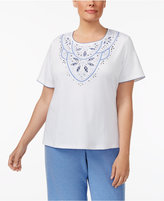 Alfred Dunner Plus Size Long Weekend Collection Embellished-Yoke T-Shirt