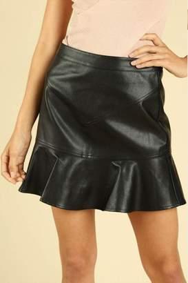Wild Honey Ruffle Leather Skirt