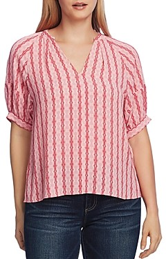 Vince Camuto Printed Elbow-Sleeve Blouse