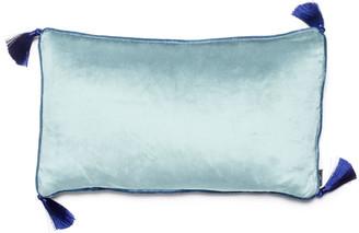 Bivain Ice Blue Jade Velvet Rectangular Cushion With Tassels
