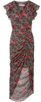 Veronica Beard Cecile Ruched Floral-print Silk-chiffon Dress