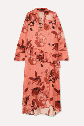 Mother of Pearl Ruffled Floral-print Satin Midi Dress - Pink