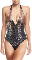 Luxe by Lisa Vogel See-Queen Plunging Halter Maillot One-Piece Swimsuit