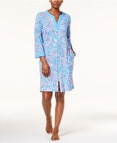 Miss Elaine Printed Knit Zip-Front Robe