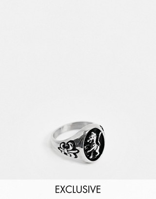 Reclaimed Vintage inspired lion ring in silver exclusive to ASOS